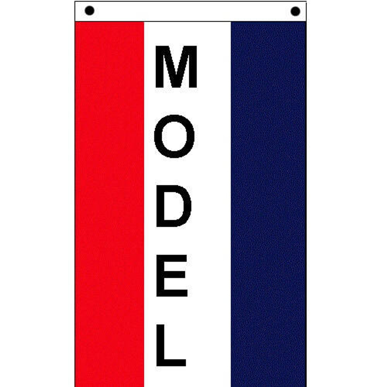 Vertical Model Flag with 3 vertical stripes.  Red, white, and blue vertical stripe with vertical black text that reads 'Model' in white center stripe.