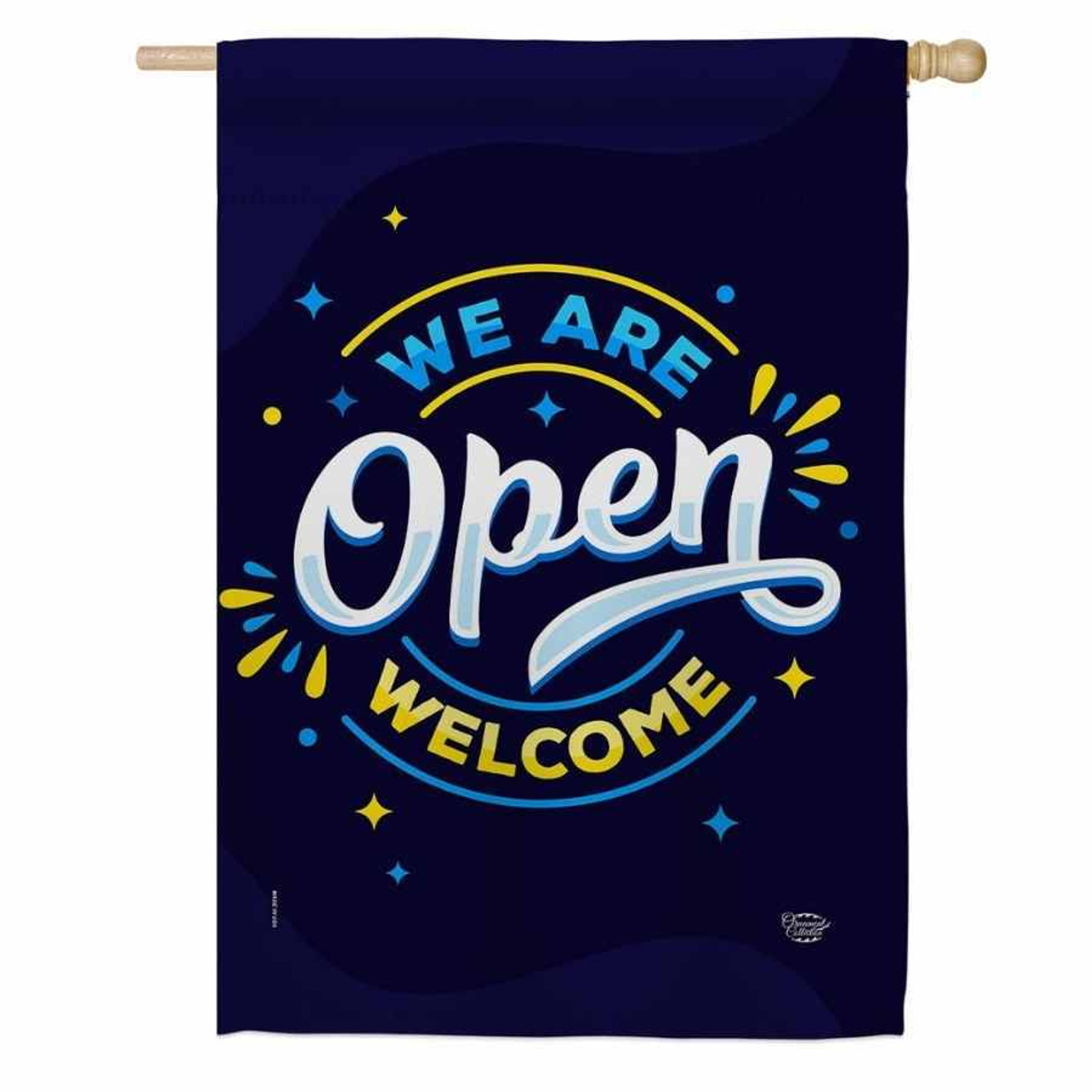 """A dark blue flag that says """"We are"""" in light blue, """"Open"""" in white, and """"Welcome"""" in yellow."""