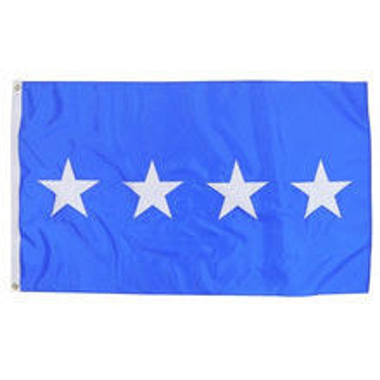 An Army 4 Star Officer Flag made of nylon with lock stitching, polyester canvas heading, and brass grommets. Has a blue background with 4 white starts spaced horizontally and centered vertically.
