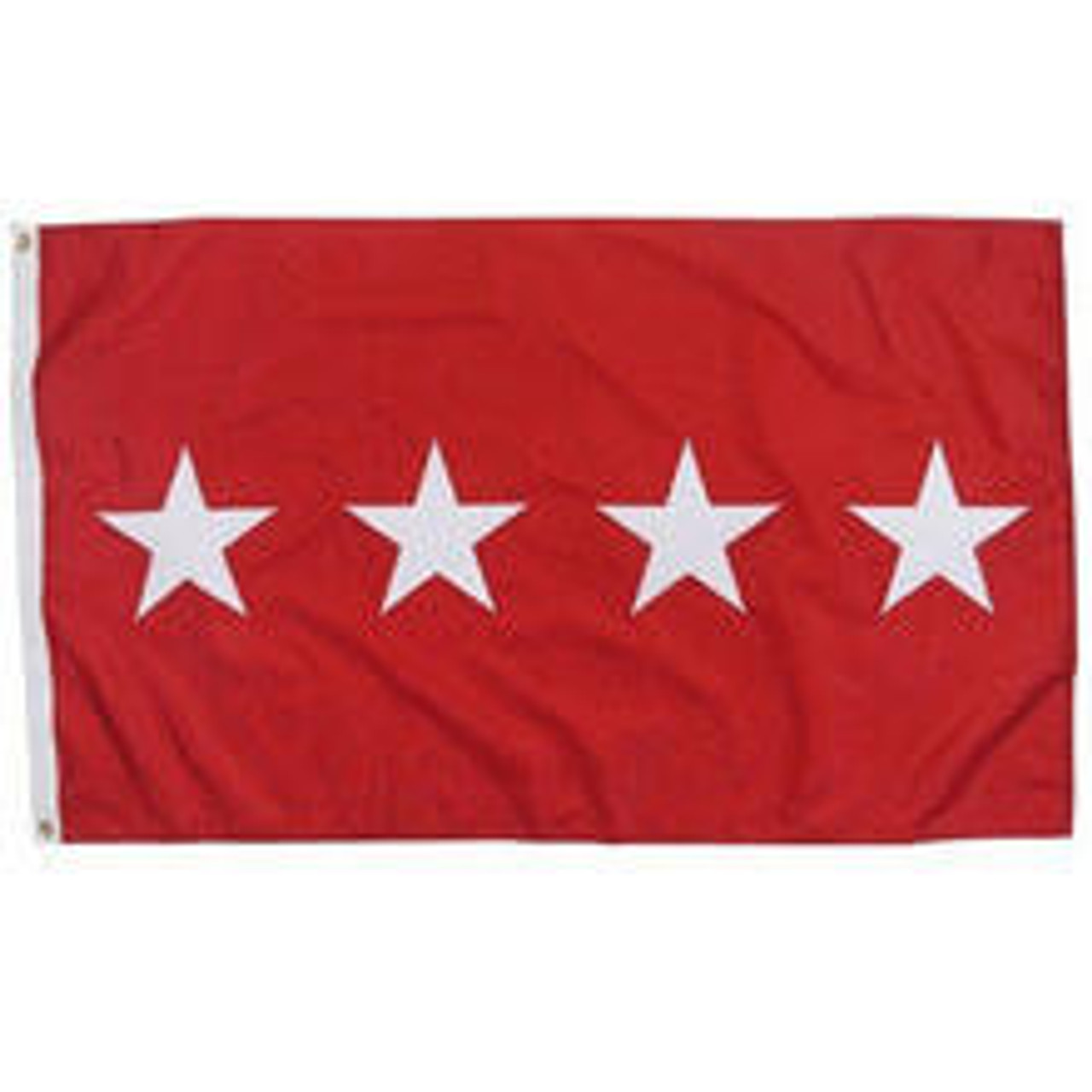 An Army 4 Star Officer Flag made of nylon with lock stitching, polyester canvas heading, and brass grommets. Has a red background with 4 white starts spaced horizontally and centered vertically.