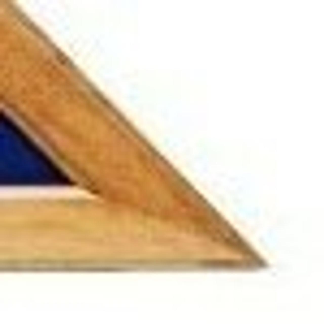 A corner triangular maple finish flag case finished with solid hardwood border