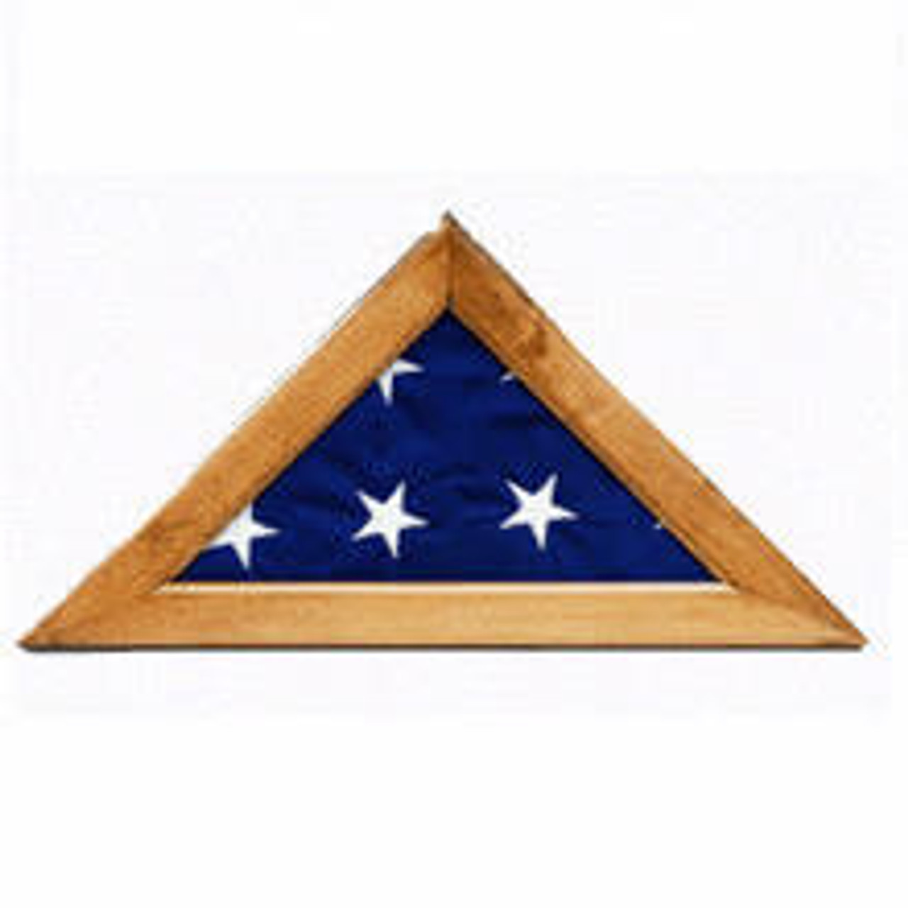 A triangular maple finish flag case finished with solid hardwood border and a plexiglass front holding a 5' x 9½' cotton American flag folded into a triangle.