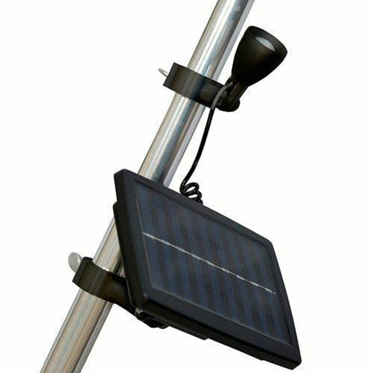 The Micro Solar Light has two black adaptable rings that slide over the pole and can be fastened with silver screws. Attached to the first ring is the adjustable LED light that moves freely and stays in place. The second ring is attached to a rectangular black solar panel that charges the light. The solar panel has a black cord that connects to the light to give it power.
