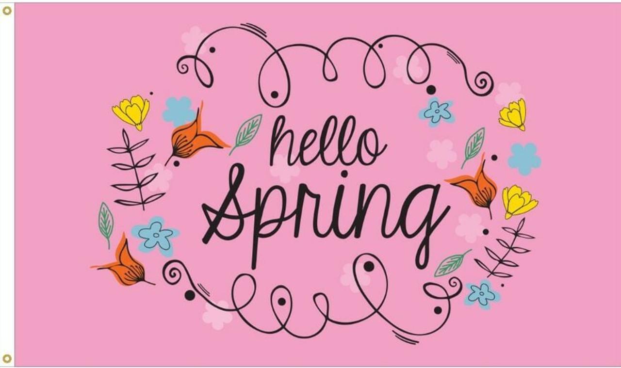 Hello Spring Flag