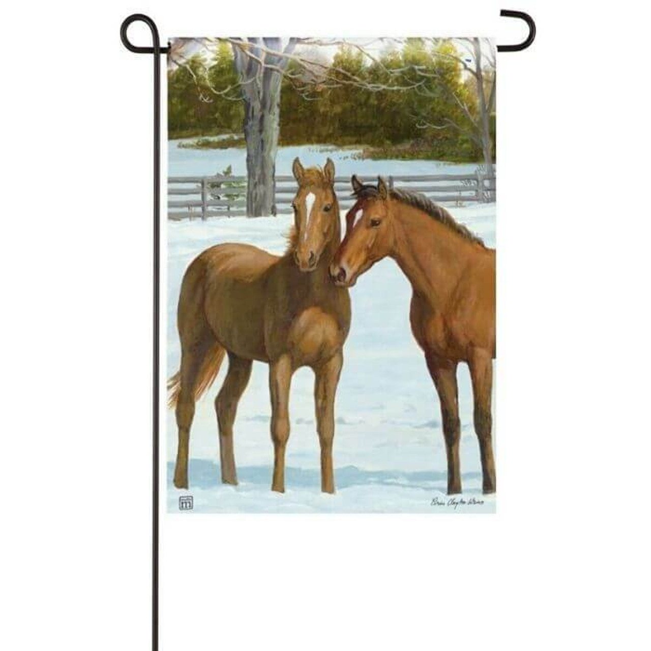 This garden flag features two chestnut horses snuggling together in a winter landscape.