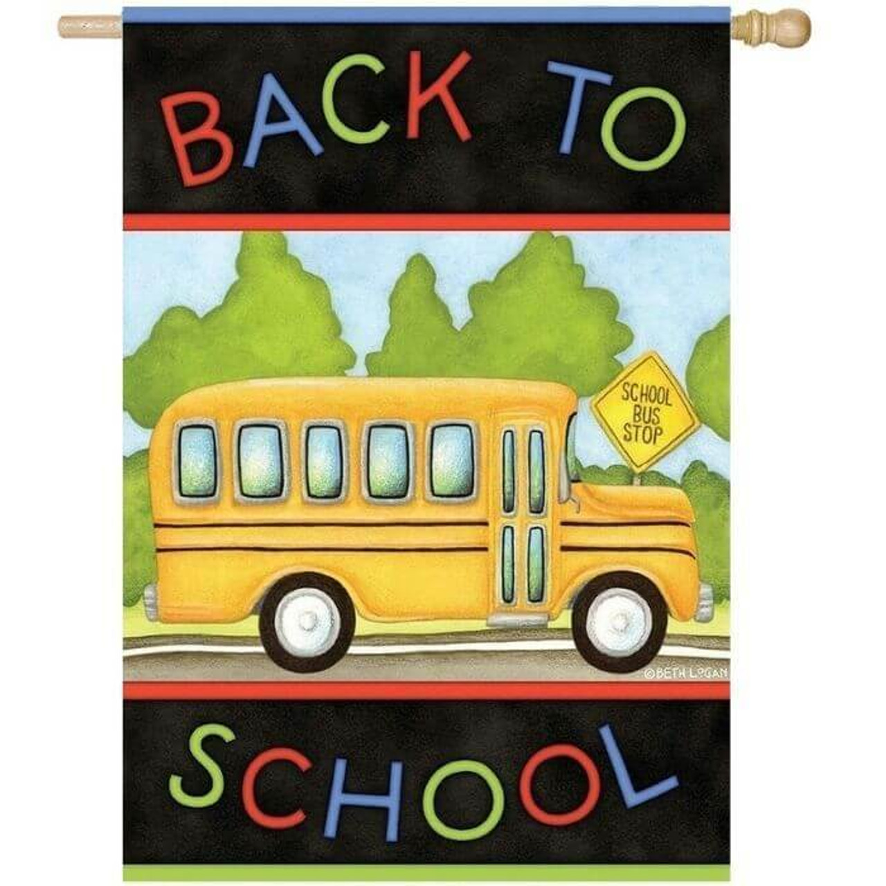 Back to School Bus House Flag
