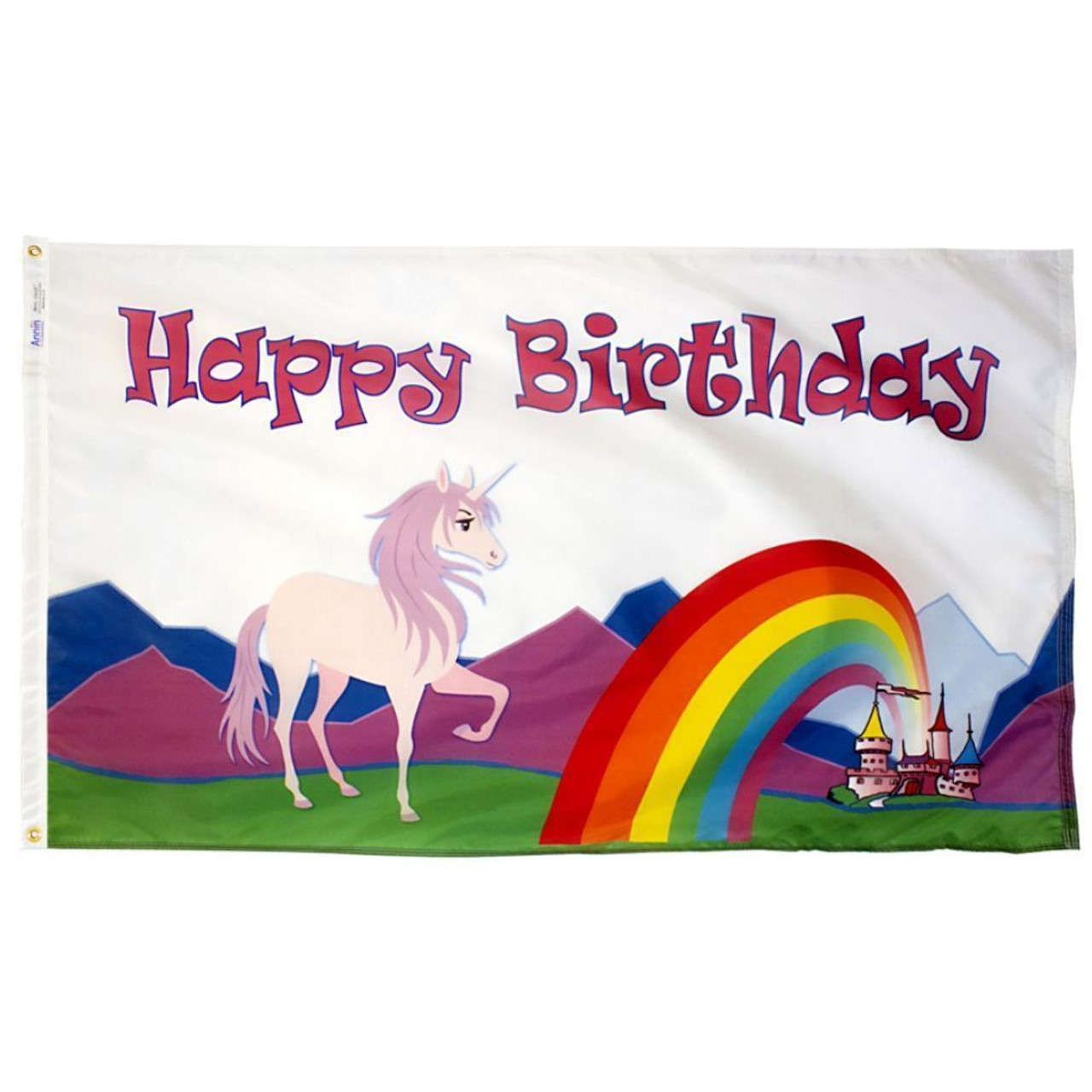 Happy Birthday Unicorn Flag