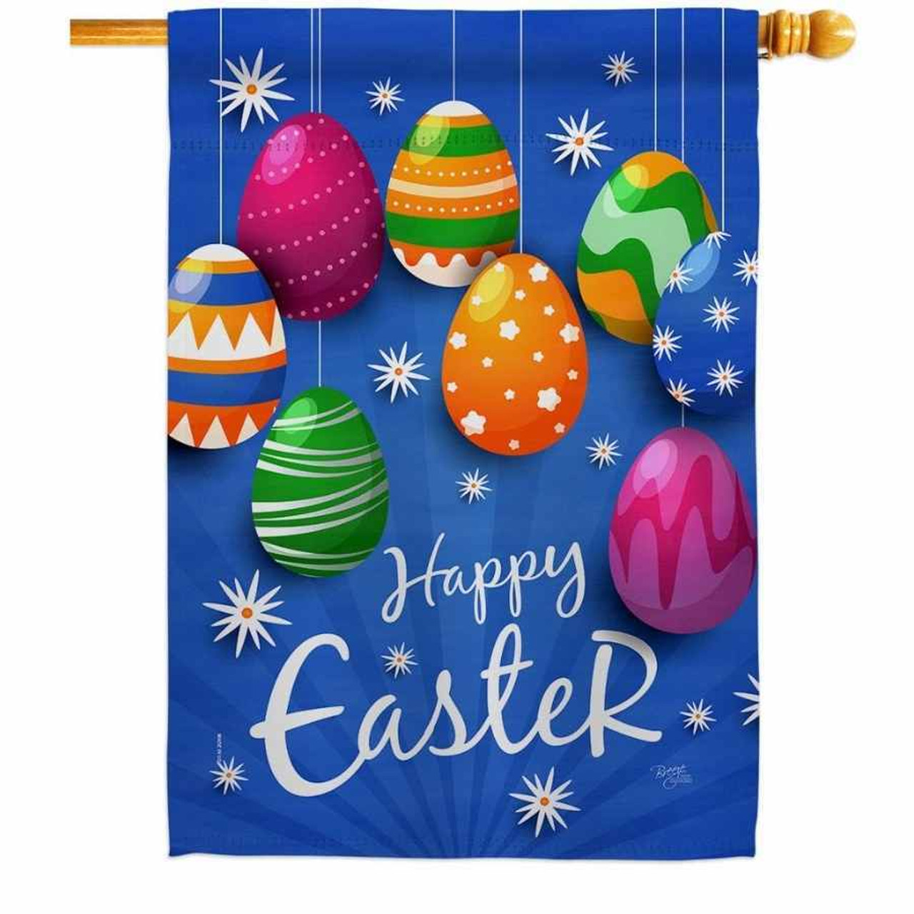 """A blue house flag that has multicolored eggs hanging from the top. """"Happy Easter"""" is written across the bottom and white stars are scattered throughout the background."""