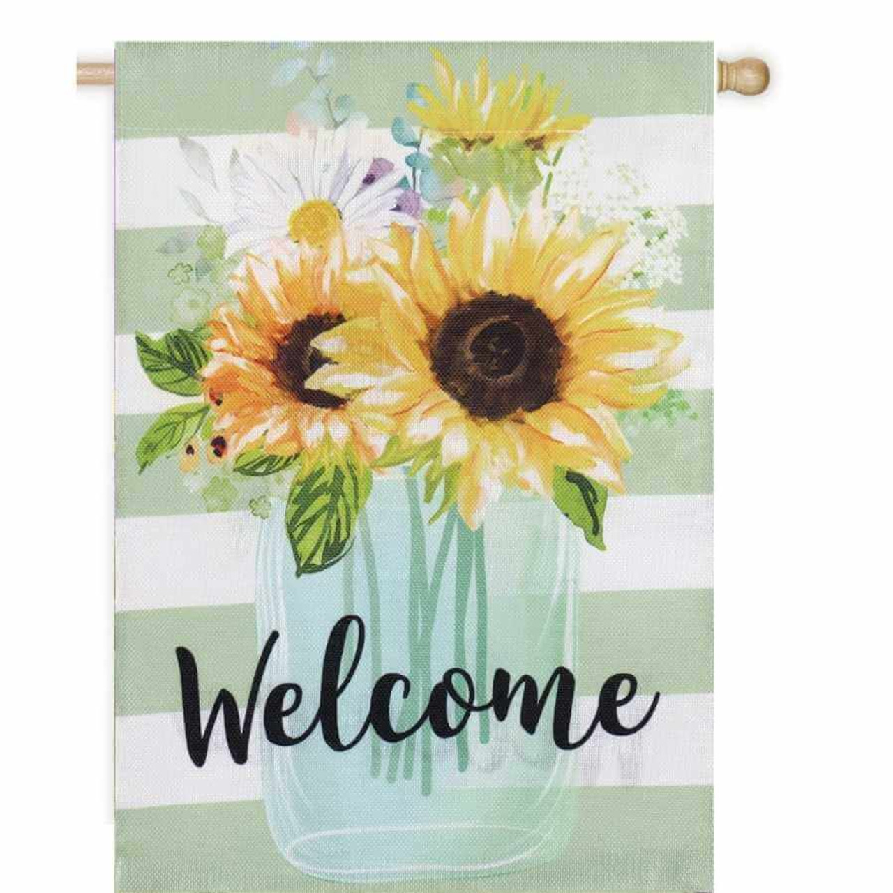 """Bright yellow sunflowers in a teal vase dominate this """"Welcome"""" flag.  Subtle green stripes in the background."""