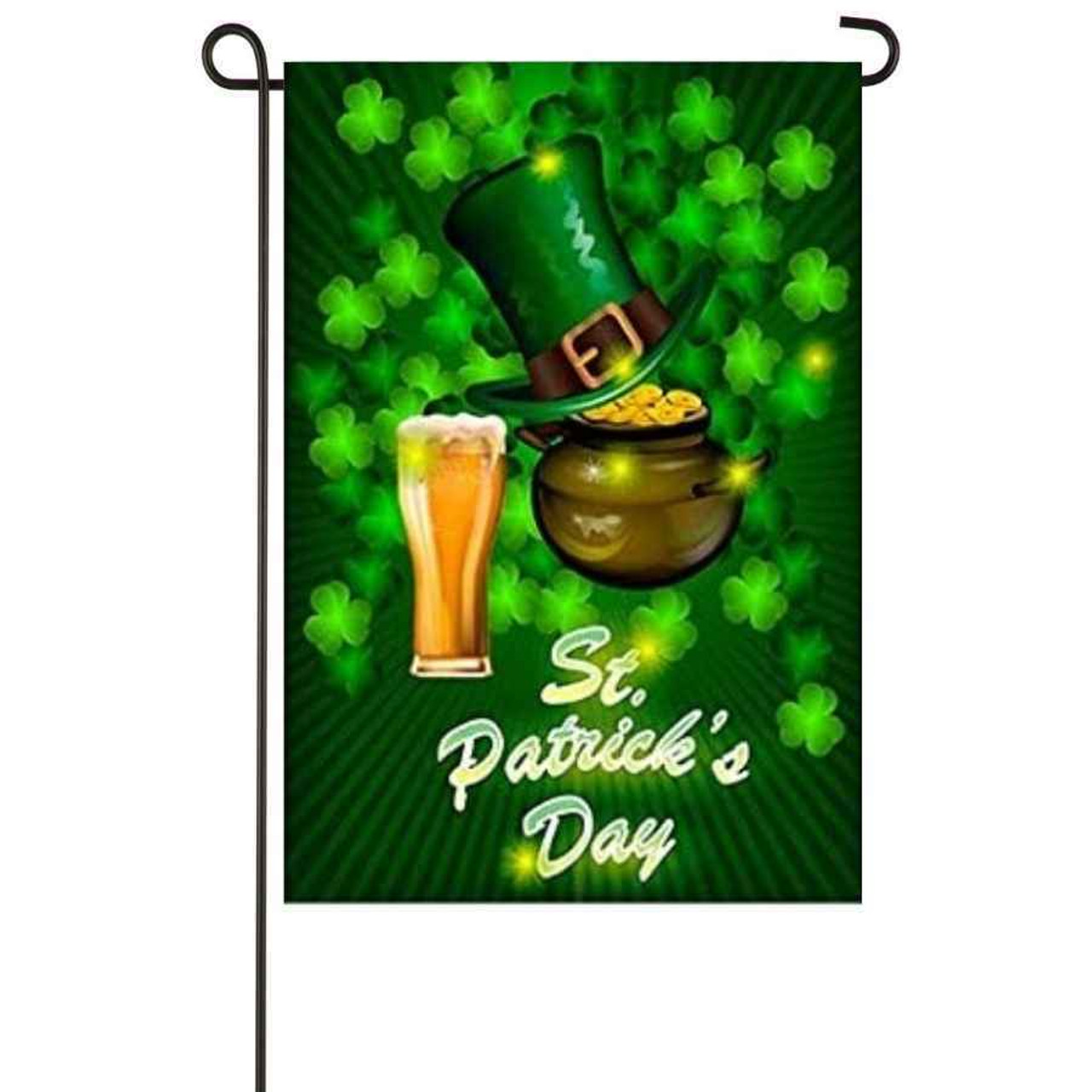 """A green garden flag with a pot of gold, a green top hat, and a glass of beer. The background has a bunch of green shamrocks and the bottom says """"St. Patrick's Day."""""""