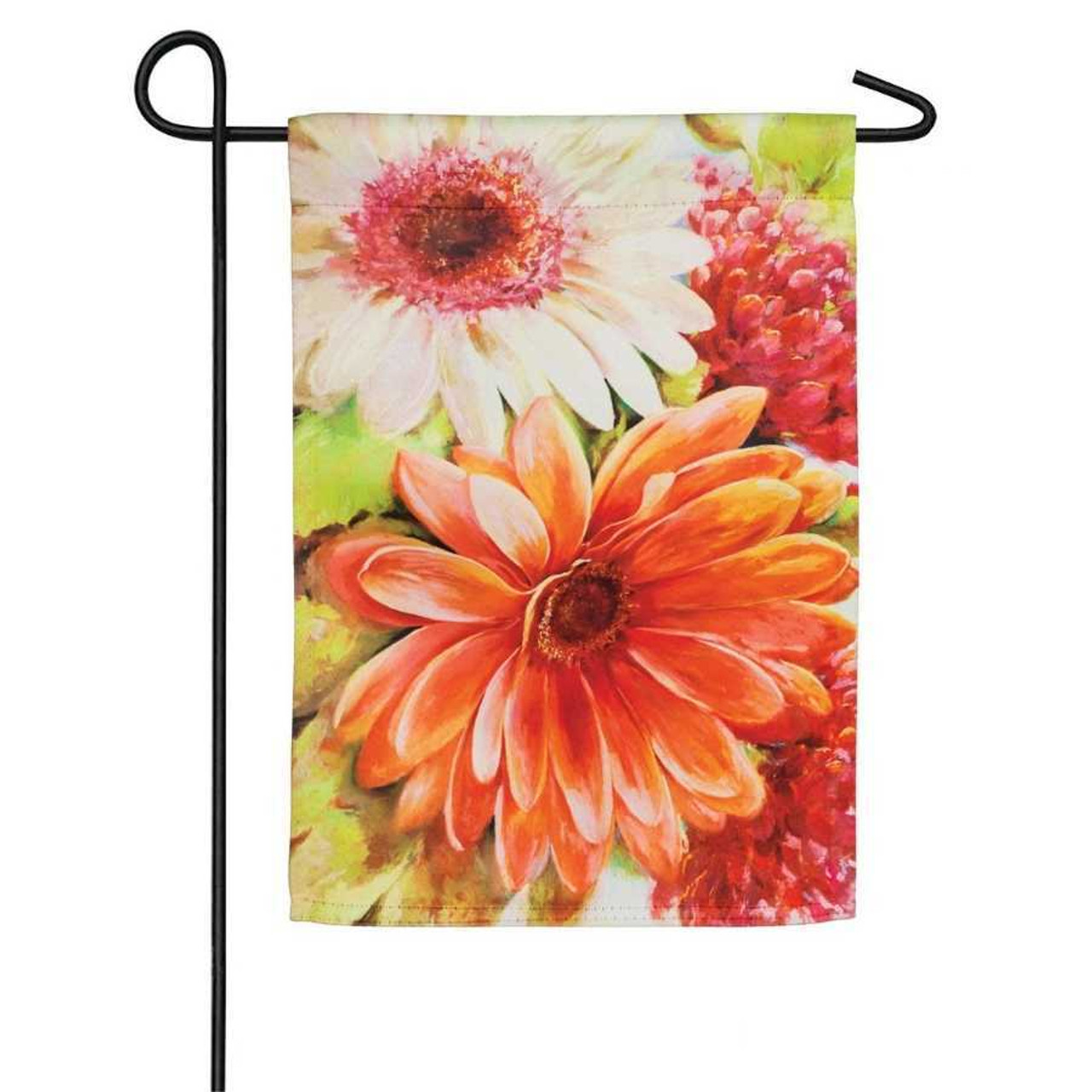 A garden flag featuring a close up of orange, yellow, green, and red flowers.
