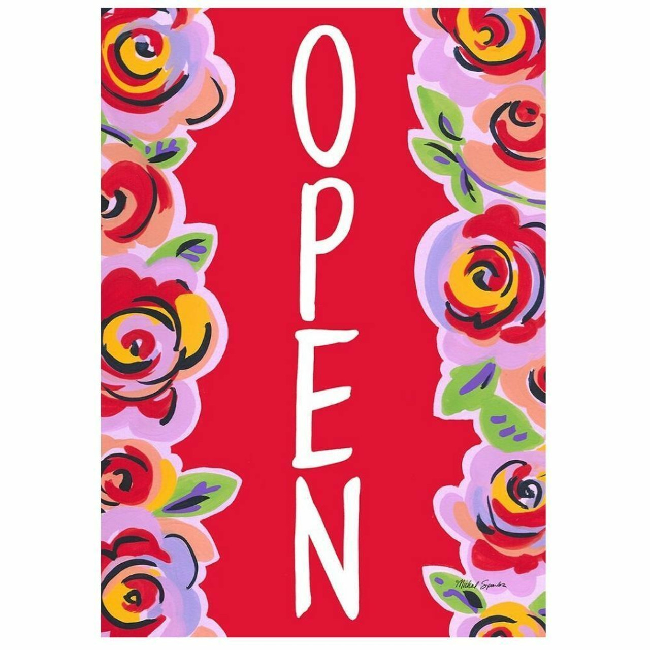 Floral Open Message Flag