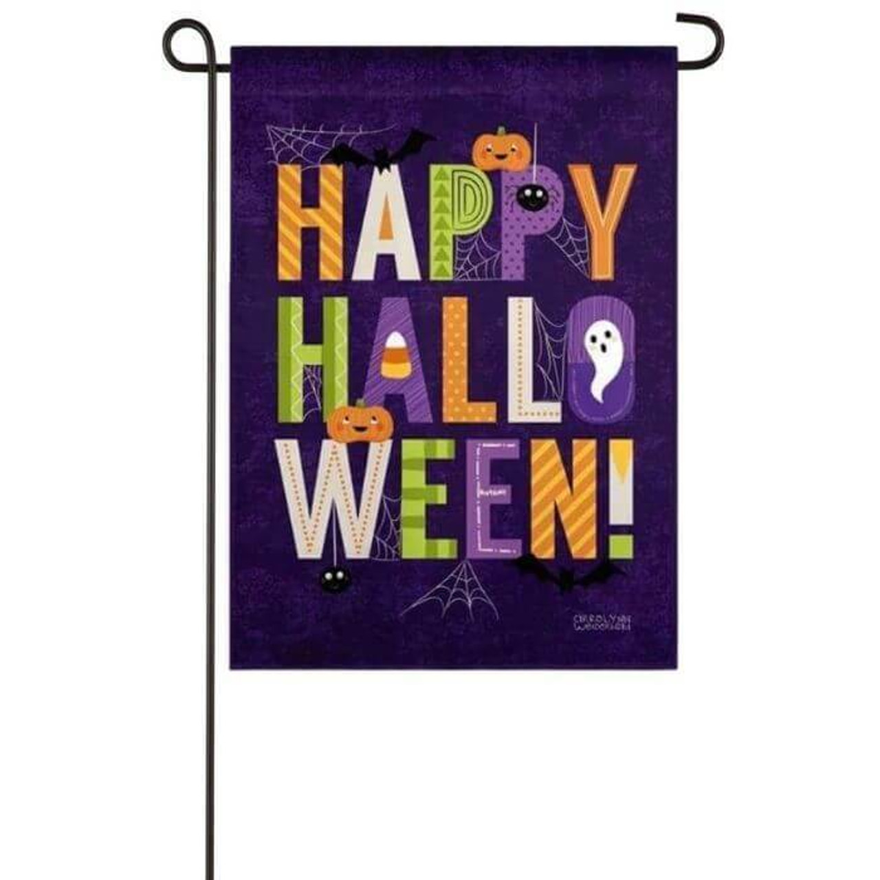 """Happy Halloween Garden Flag. This garden size suede flag features a purple distressed background, spiderwebs, pumpkin jack-o-lantern, ghosts, candy, and patterned colorful banner that reads: """"Happy Halloween"""". Words and artwork is readable from both sides of the flag."""