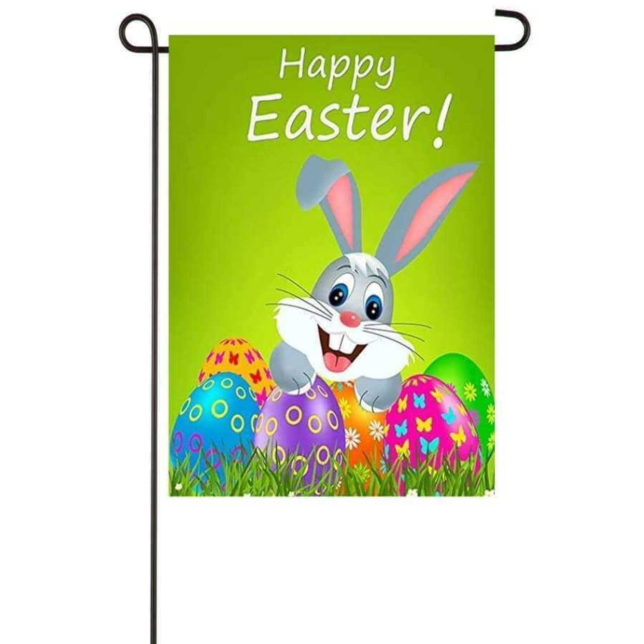 """The garden banner has a """"Bugs Bunny"""" look alike in a field of colorful Easter eggs surrounded by a bright green background.  The words """"Happy Easter"""" are on top."""