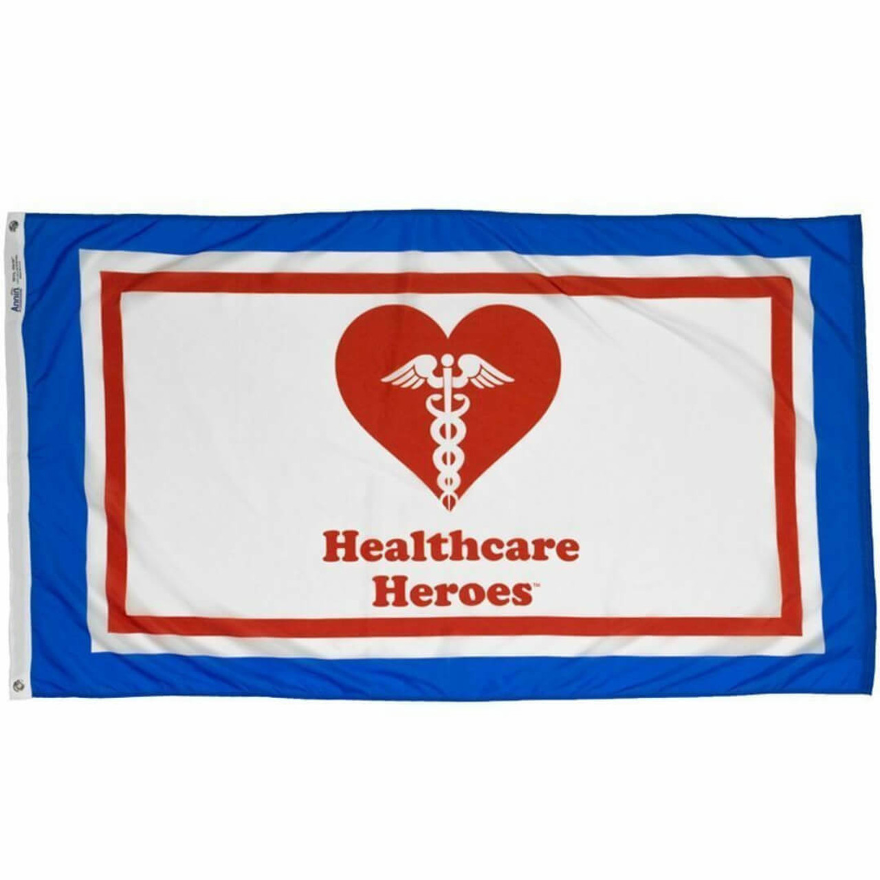 """Our Healthcare Heroes flag features a red heart with a white medical symbol in the center, with red text reading """"Healthcare Heroes."""" This is all shown on a white background within a red border, within a white border, within a blue border."""