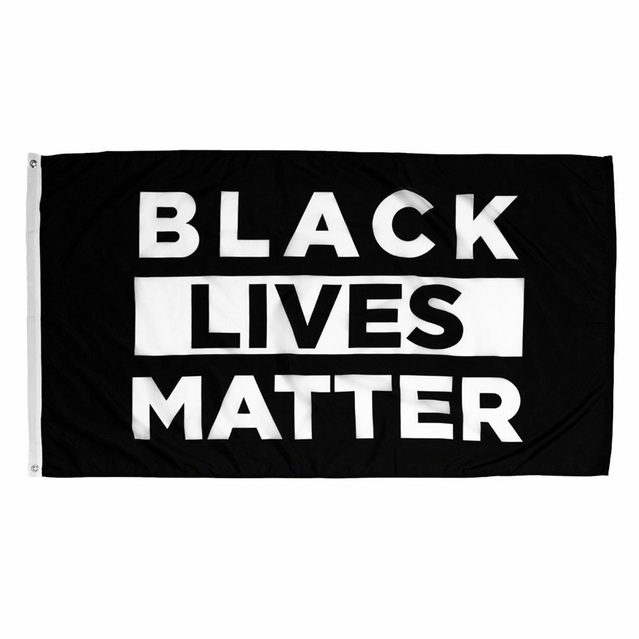"The nylon Black Lives Matter flag comprises of a black background with a white rectangle in its center. Text in white and black through the flag (the white text is in the black part and the black text is in the white rectangle) reads ""Black Lives Matter"". The flag has a canvas header and brass grommets on the mounting side."