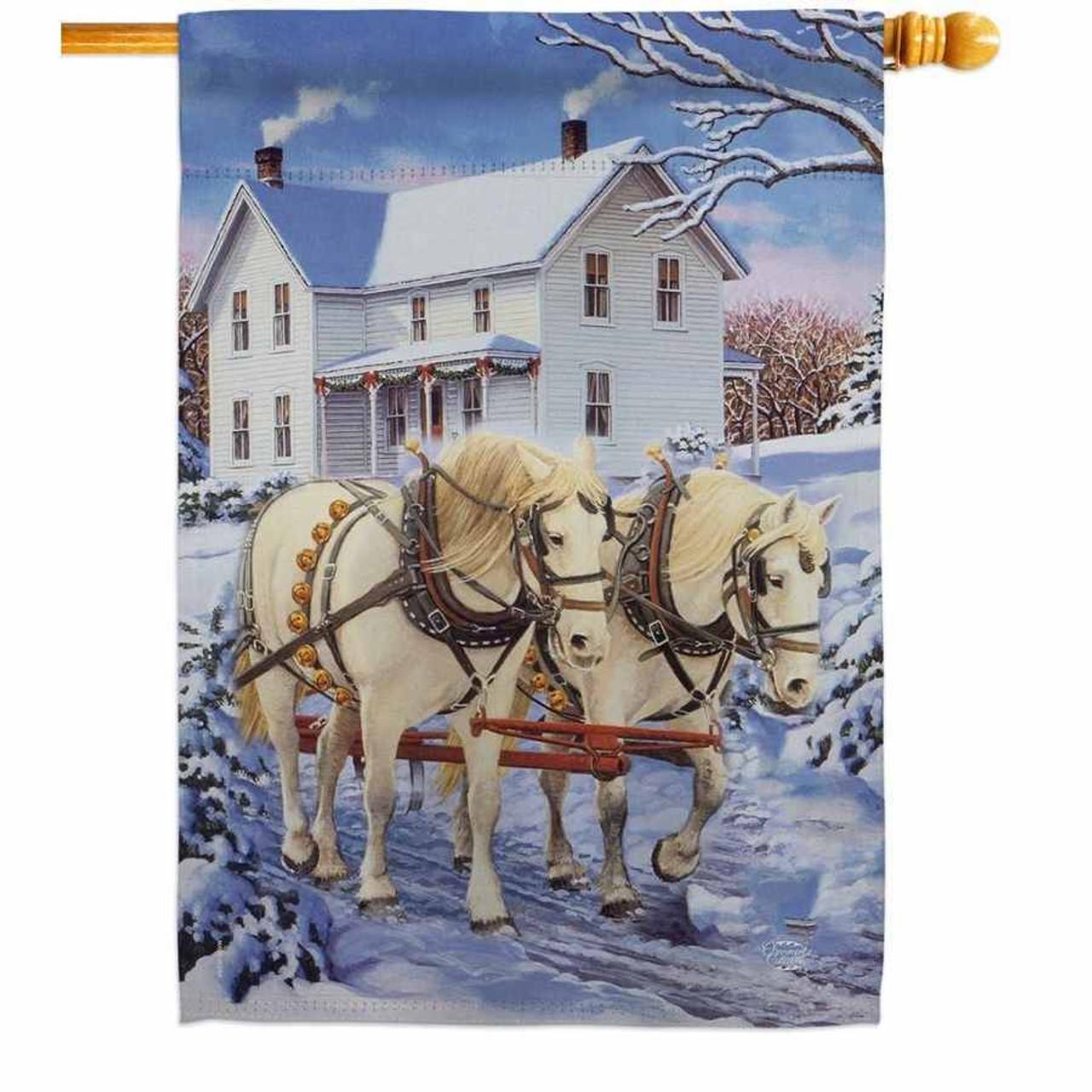 Winter Horses House Flag