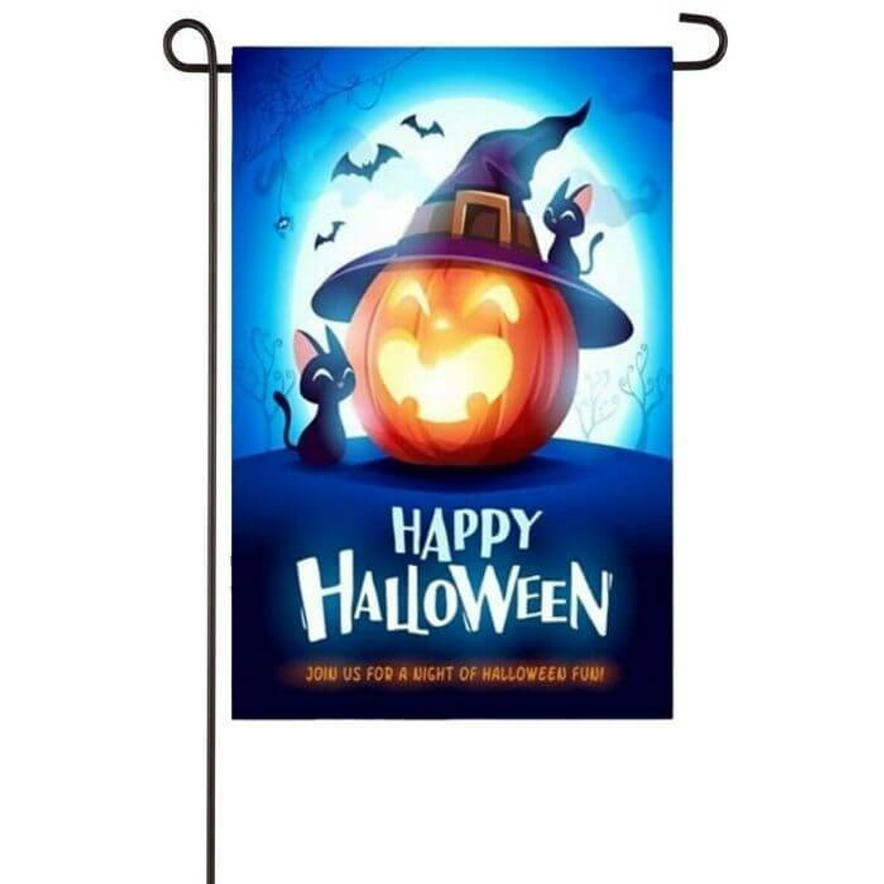 """This garden flag features a smiling jack-o-lantern with a purple witch hat with two black cats sitting by it. In the background is a bright full moon in a night sky with bats flying around. Under the jack-o-lantern is the text """" HAPPY HALLOWEEN"""" in white and """"JOIN US FOR A NIGHT OF HALLOWEEN FUN!"""" in orange."""