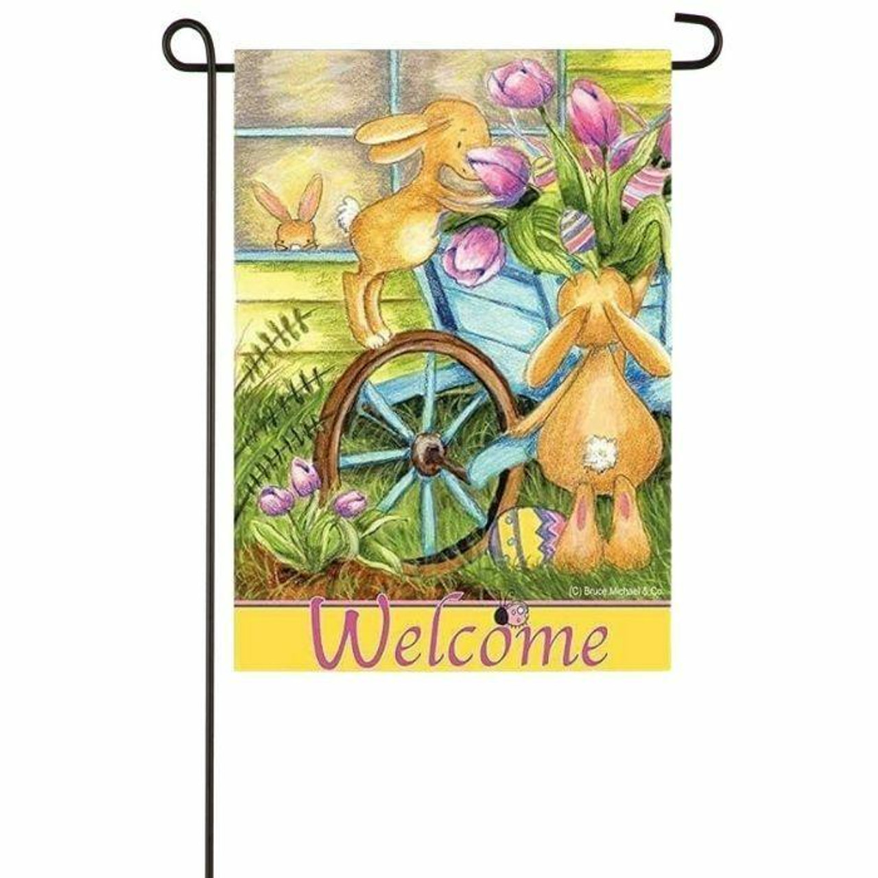 Welcome Easter Garden Flag with bunnies and tulips