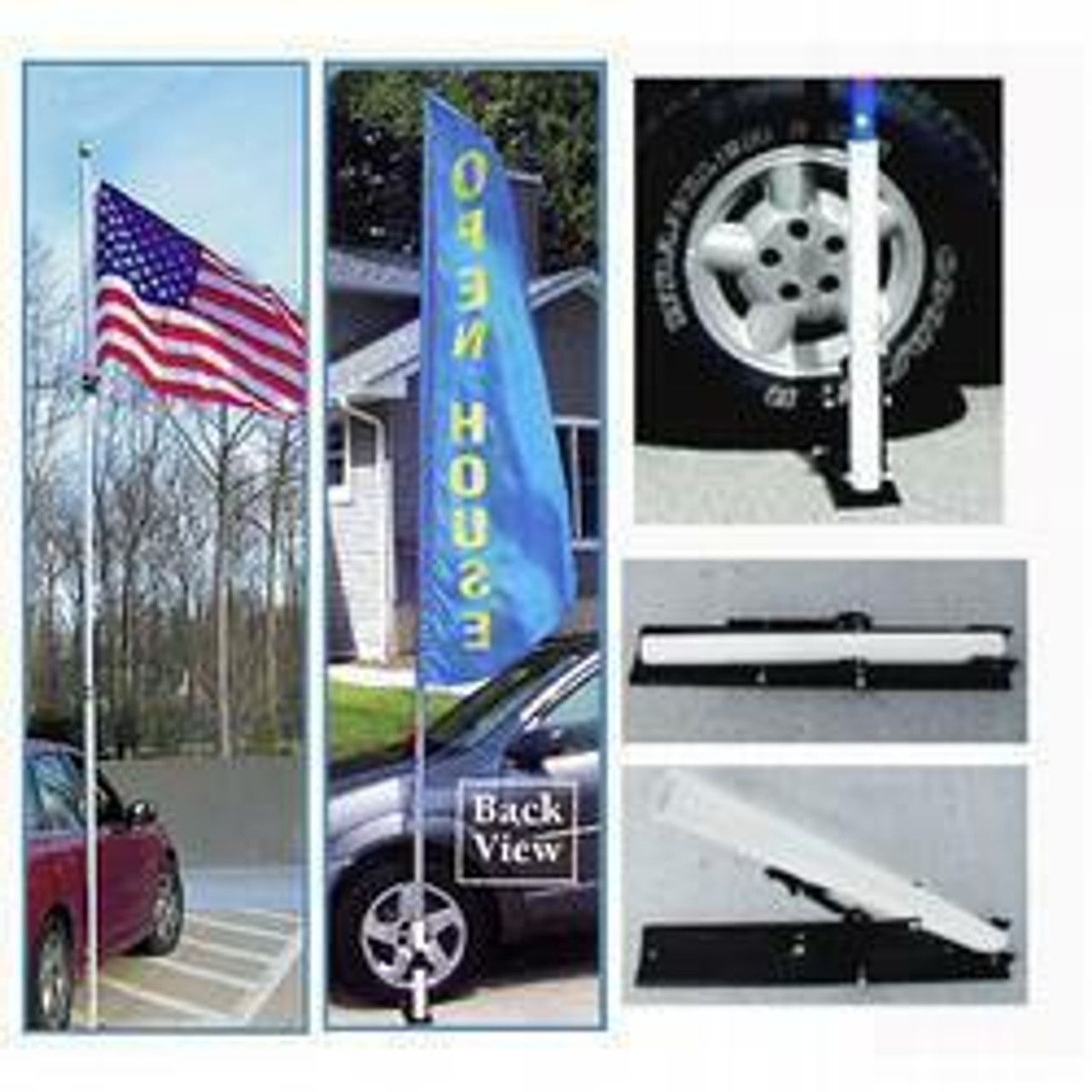 """The The 16' Portable Telescoping Flagpole w/ Stand is made of strong, lightweight fiberglass and can be adjusted to any length up to 16 feet. The portable flagpole has a diameter of 1.5"""" and comes equipped with a ball ornament, locking banner clips for a permanent display, and a ground sleeve."""