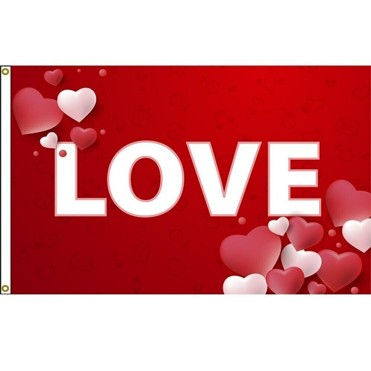 The love valentine flag has a bright red background with the word love written in white right in the middle of the flag.  On two corners are hearts in various shades of pink.