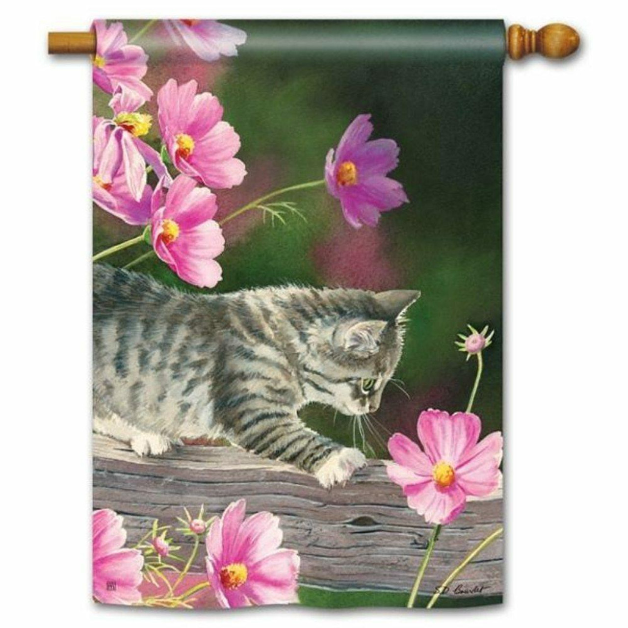 This curious kitty flag has a gray kitten curiously looking at a pink flower with other flowers in the distance.