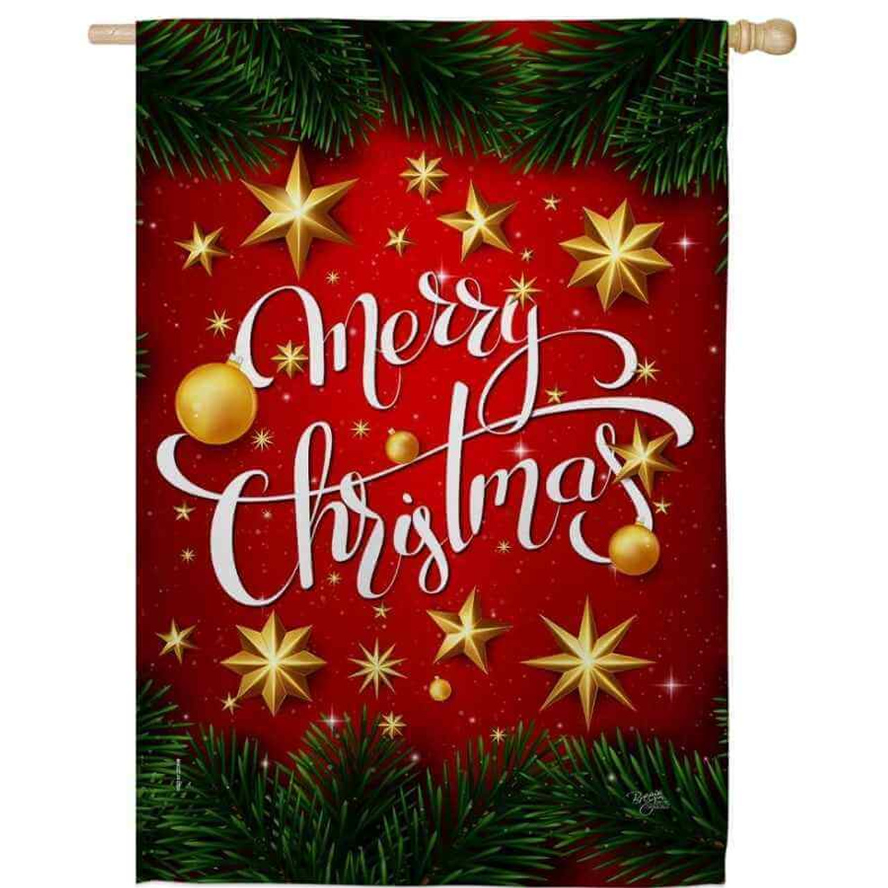 """A house flag with a red background. """"Merry Christmas"""" is written in white in the middle. Yellow stars and ornaments are scatted around the flag. The top and bottom have a row of garland."""