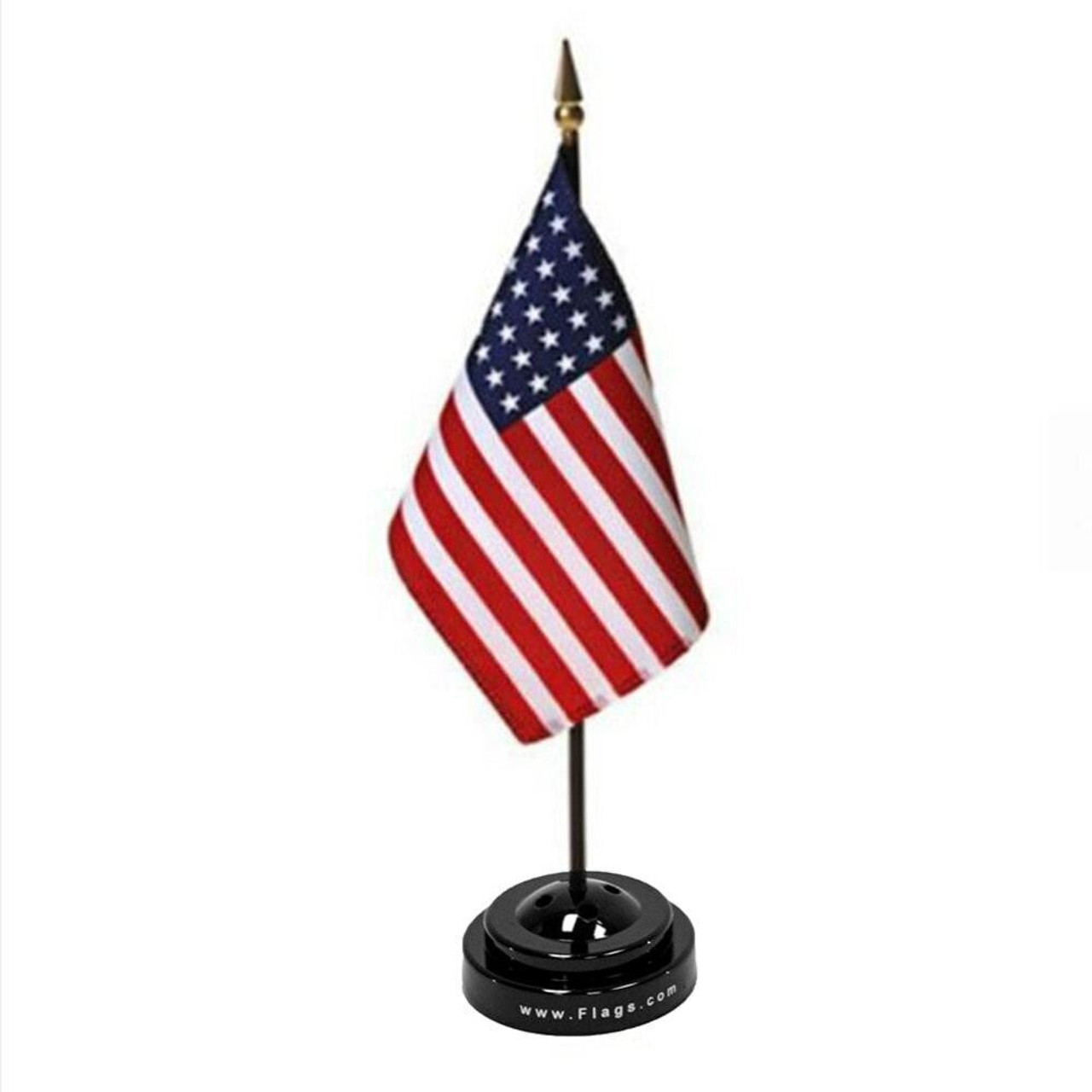 Silky polyester American stick flag in it's matching black plastic base.