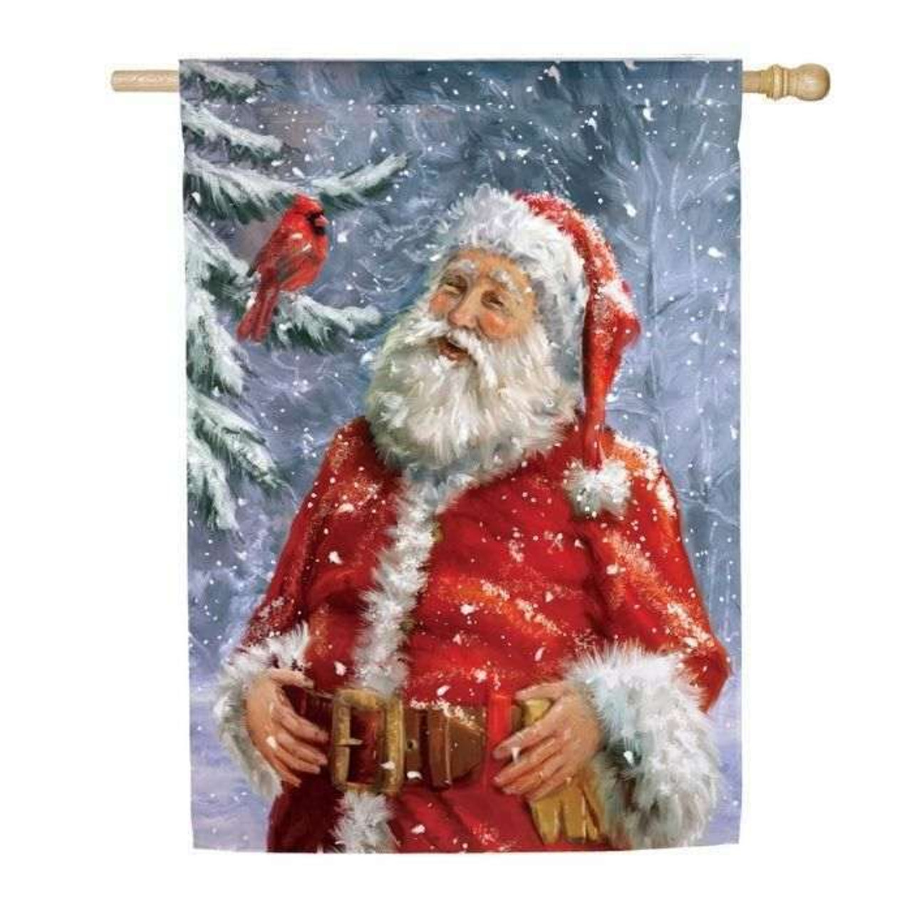 This decorative house flag depicts a classic  Santa Claus with a warm happy expression on his face, white bushy eyebrows, and mustached beard, rosy cheeks and lips with his hands anchored on his brown belt with brass buckle around his plump belly.  His suit is as red as the cardinal perched on a snow-covered pine who he appears to be sharing a moment with.  He has fluffy white cuffs and trim on his suit and had. The backdrop is a snowy winter wonderland with branchy, leafless trees in blue-gray hues and fluttering white snow.
