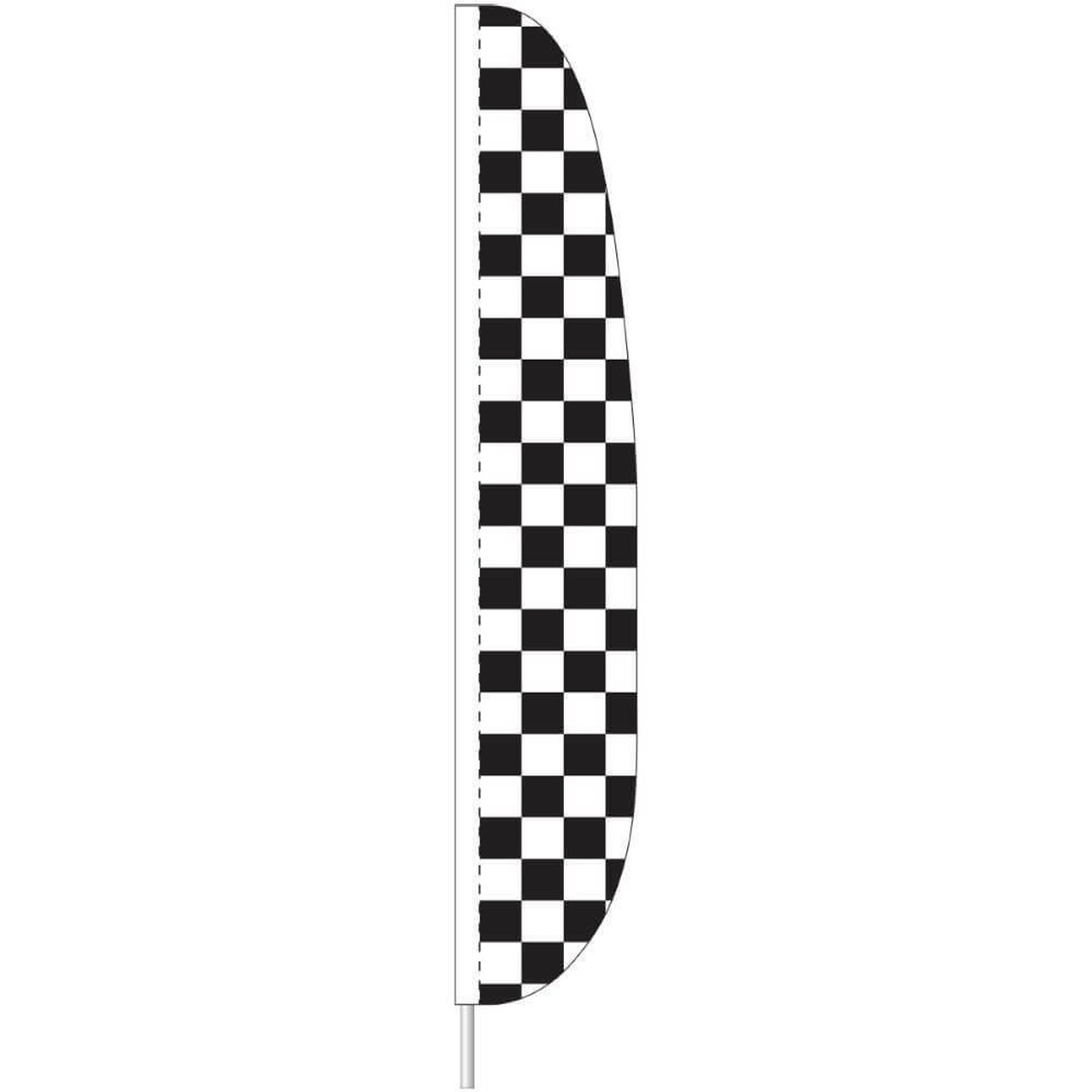 Vertical flag 26 inches wide and 12 feet tall made of nylon. The pattern is a checkerboard pattern of black and white squares. The flag can be secured to a 15 foot telescoping flagpole with a sleeve or a brass grommet that can be attached with a zip tie.