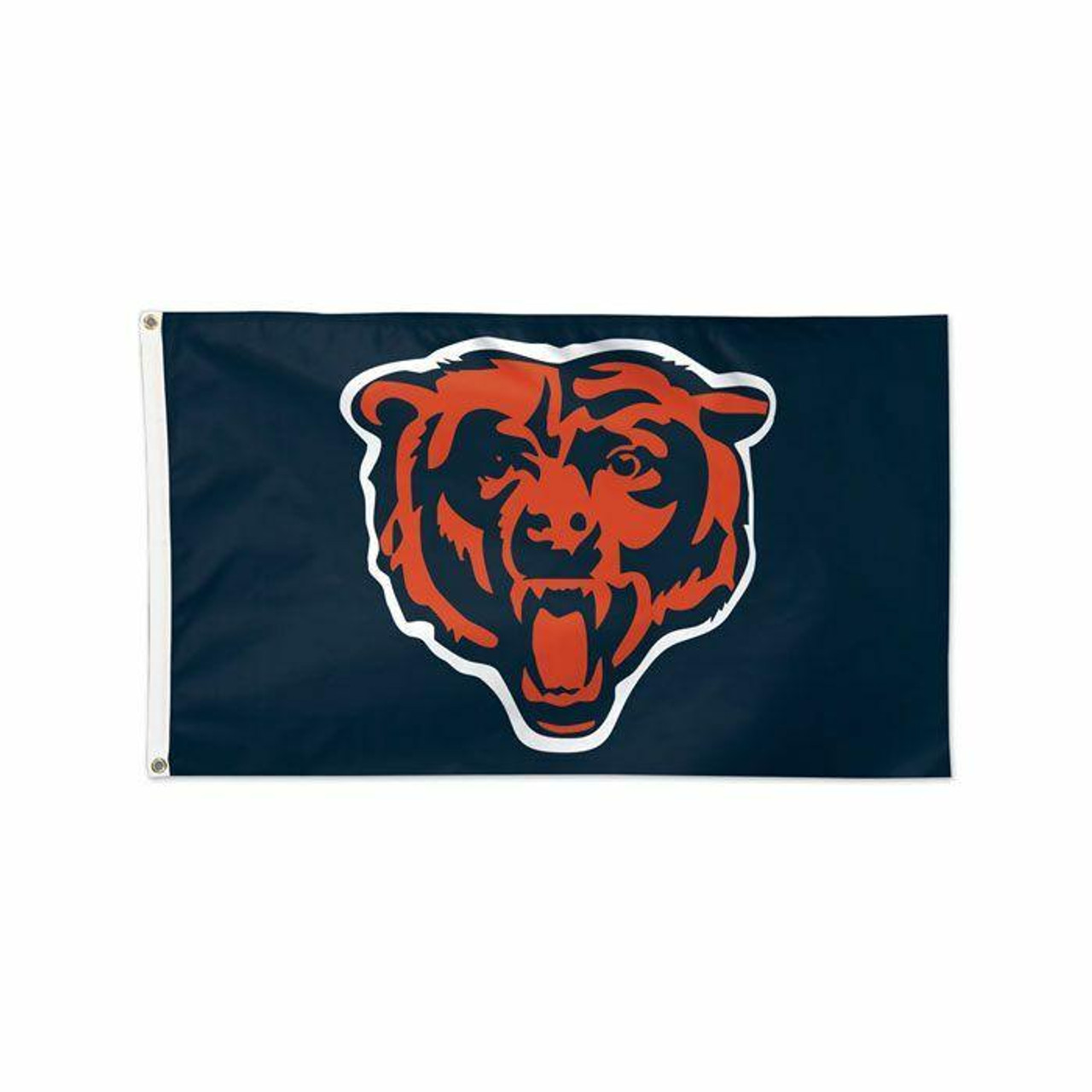 The Chicago Bears flag has a navy blue background and an orange and blue bear face in the center