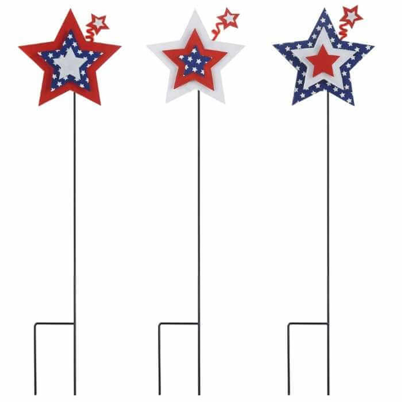 Set of 3 red, white, and blue American style garden stakes.