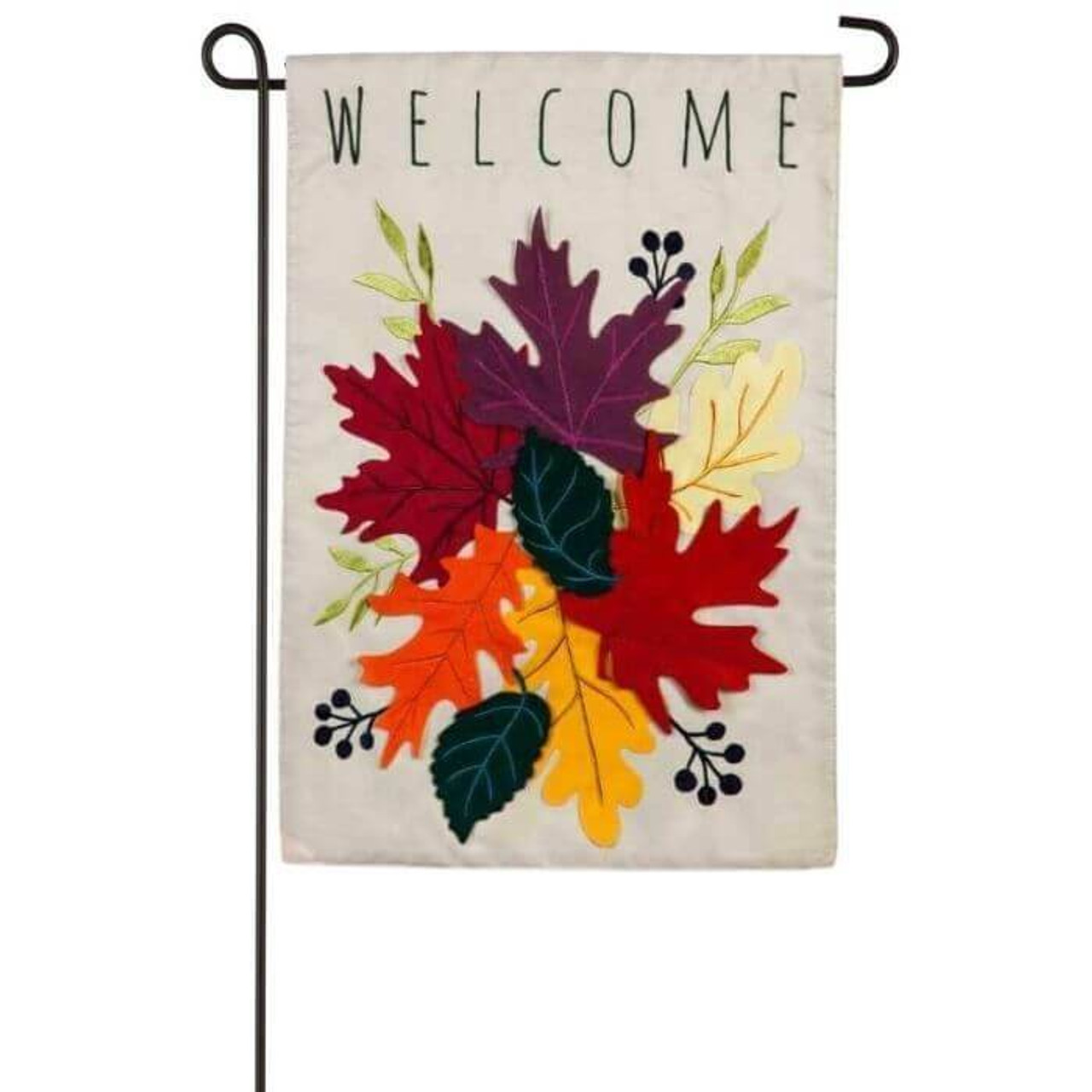 """This double-sided appliqué garden size flag features a light gray background, embroidered,  layered Autumn colored leaves (red, purple, cream, yellow, orange plus green), and reads: """"Welcome"""". This garden size flag is designed with nylon fabric with tight, detailed machine stitching."""