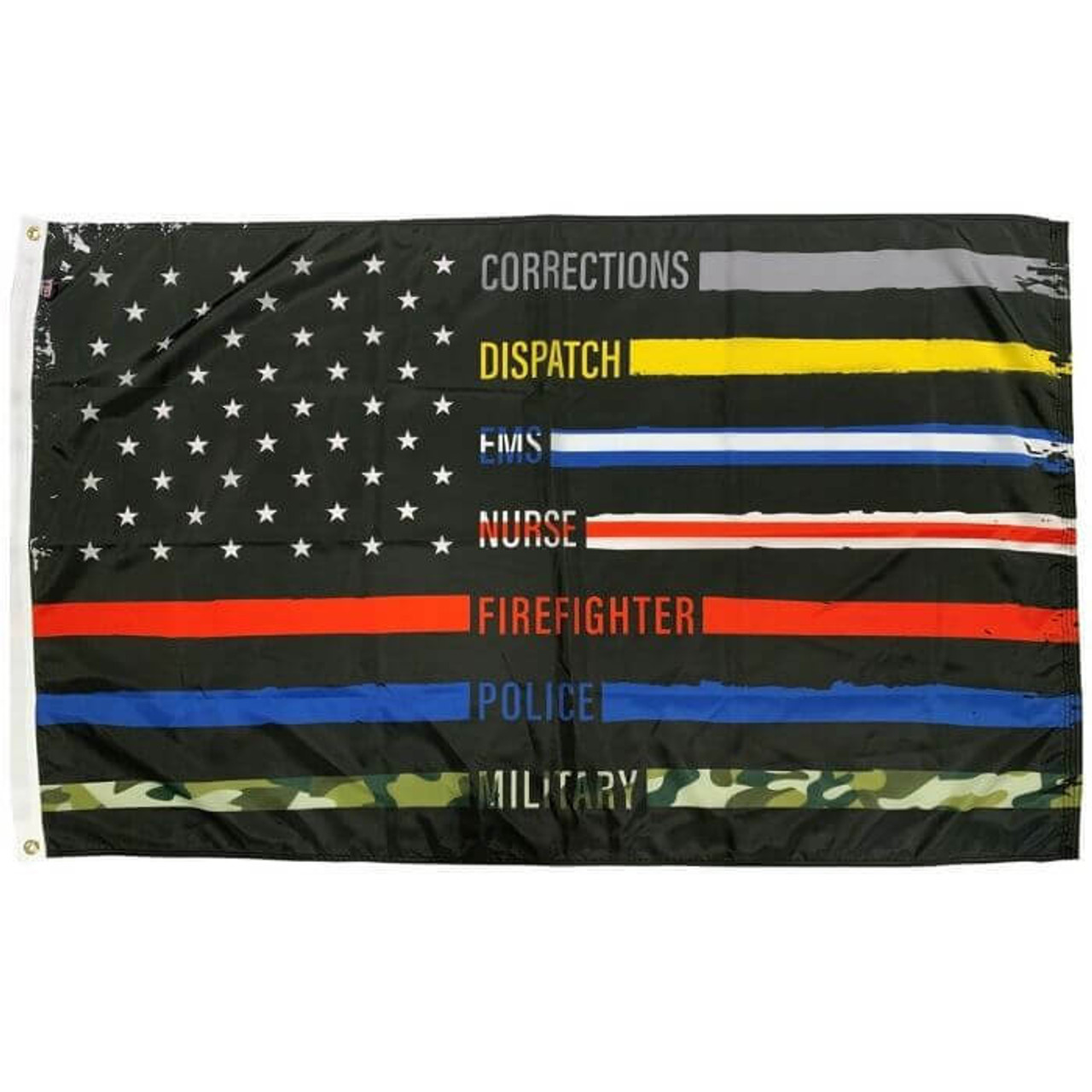 First Responder American Flag with black background and black & colorful alternating stripes. First responder stripes include: Gray stipe for corrections, yellow stripe for dispatch, blue and white stripe for EMS, white and red stripe for nurse, red stripe for firefighter, blue stripe for police, and camouflage stripe for military.