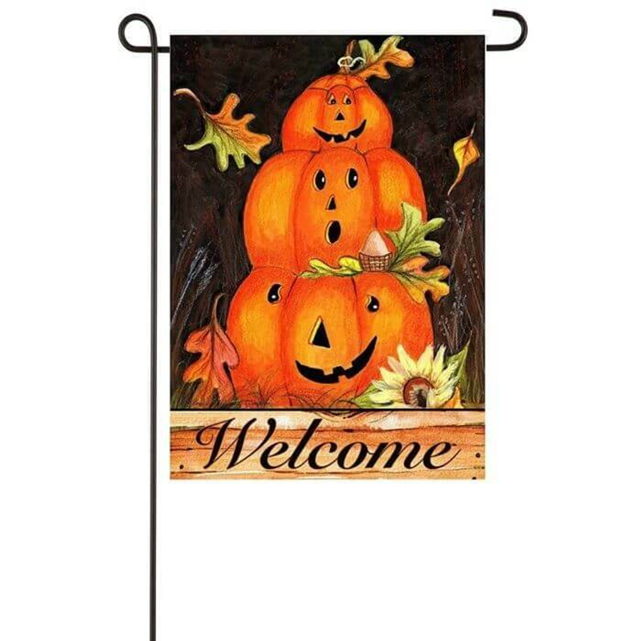 Pumpkin Trio garden flag with 3 stacked  jack-o'-lanterns and fall leaves.