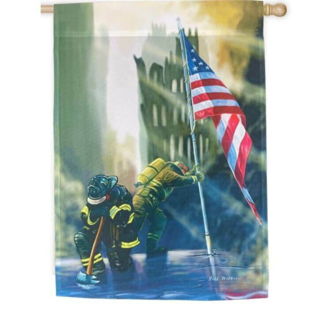 American Heroes House Flag with first responders and American Flag