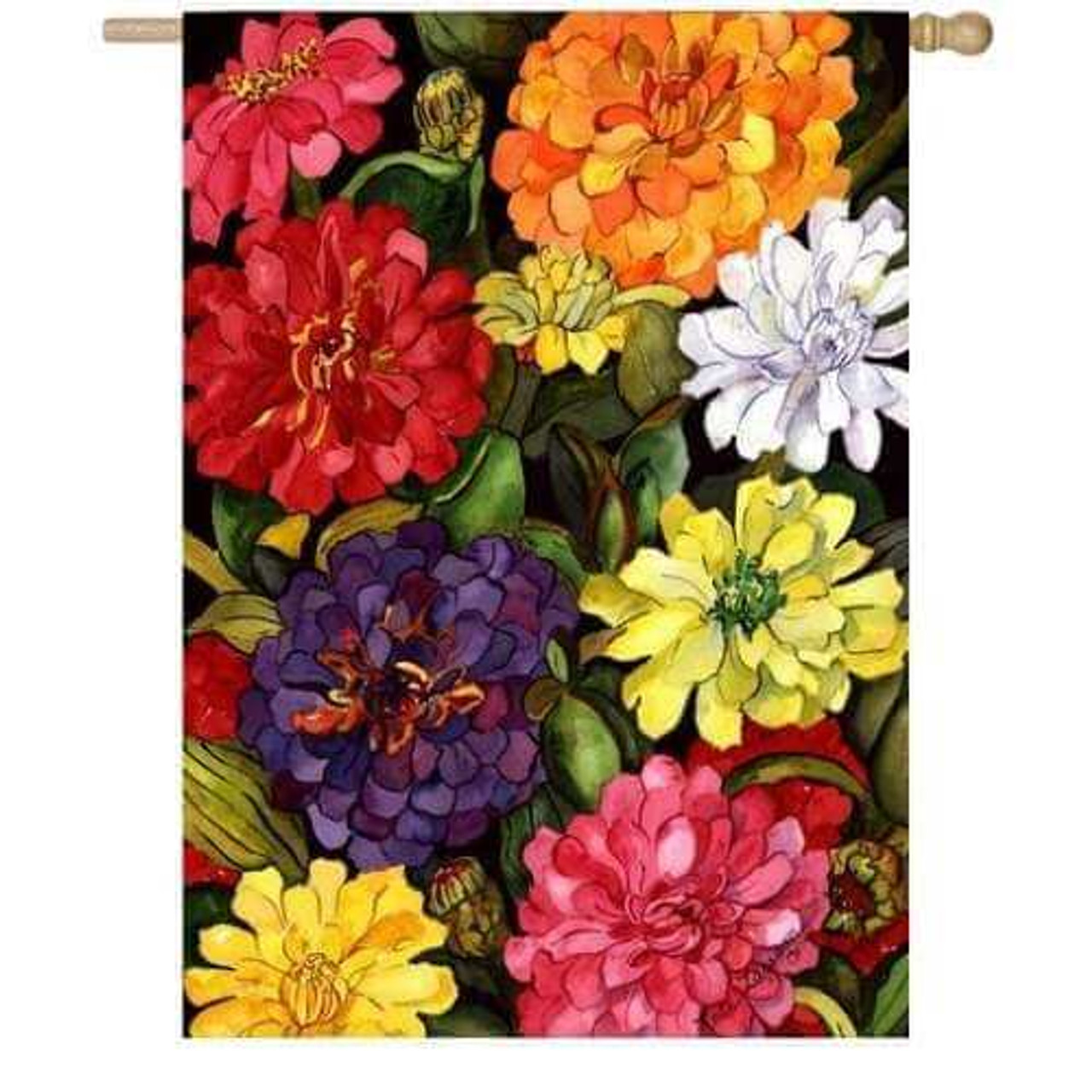 Zippy Zinnias House Flag with red, pink, orange, white, yellow, purple, and white zinnias with green leaves in background