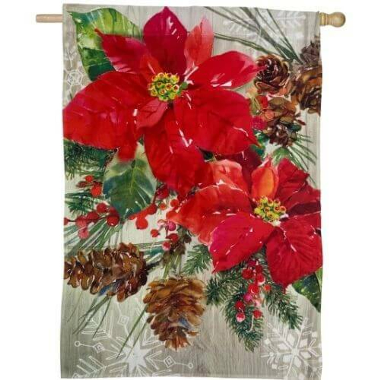 Poinsettia with pine cones house flag on beige background with white snow flakes