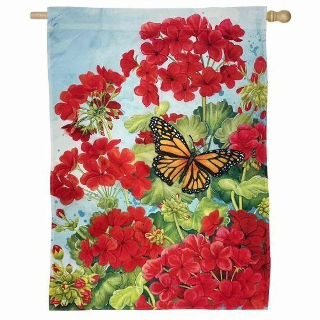 Red Geraniums and house flag with monarch butterfly