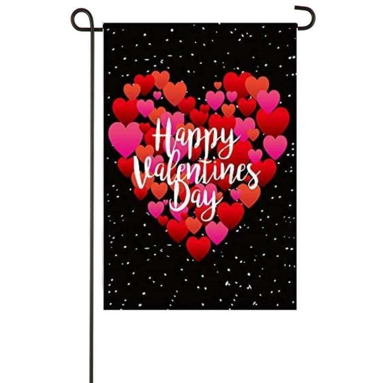 Valentine's Day Hearts garden banner features a heart made up of various hearts in all shades of pink and red.  The heart stands out against a black background.