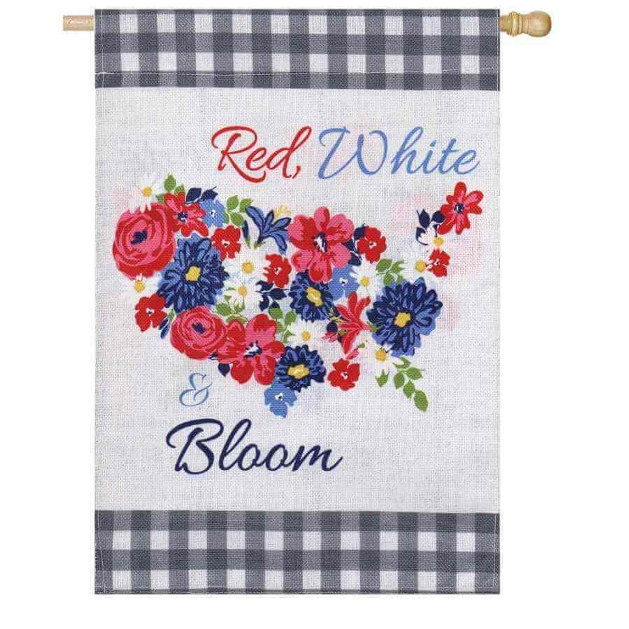Border on top and bottom with black and white checkered design and an image of red, white & blue flowers shaped like the United States.