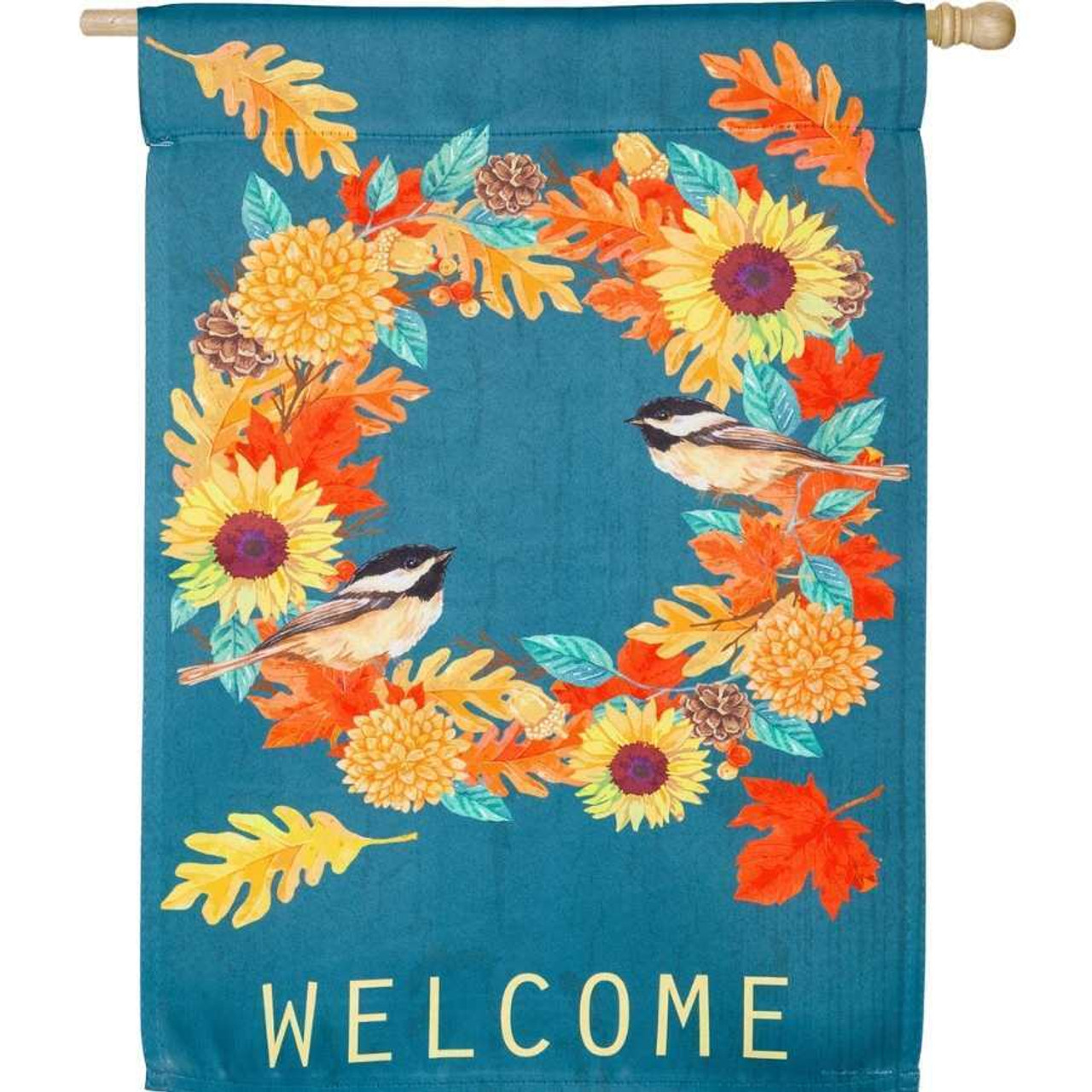 """A turquoise flag with a fall-colored wreath in the middle made up of leaves, sunflowers, and chickadees. The word """"Welcome"""" is written on the bottom."""
