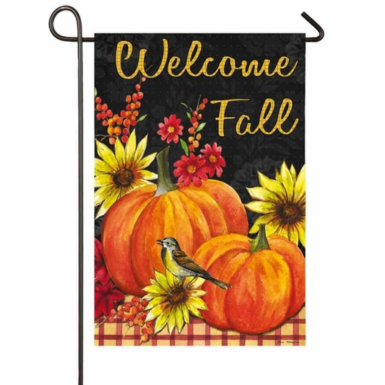"""A garden flag featuring orange pumpkins and yellow sunflowers on a plaid tablecloth. A bird sits on one of the sunflowers, and the background is black. """"Welcome Fall"""" is written on the top."""