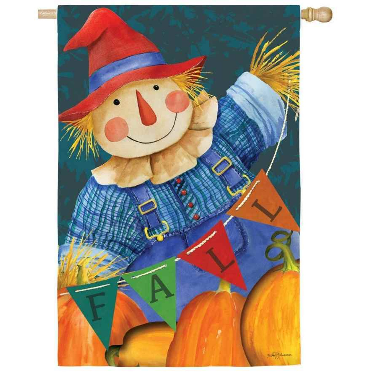"""A house flag with a scarecrow wearing jean overalls and a red hat. He is holding a pennant string that says """"Fall."""" The bottom of the flag has pumpkins."""
