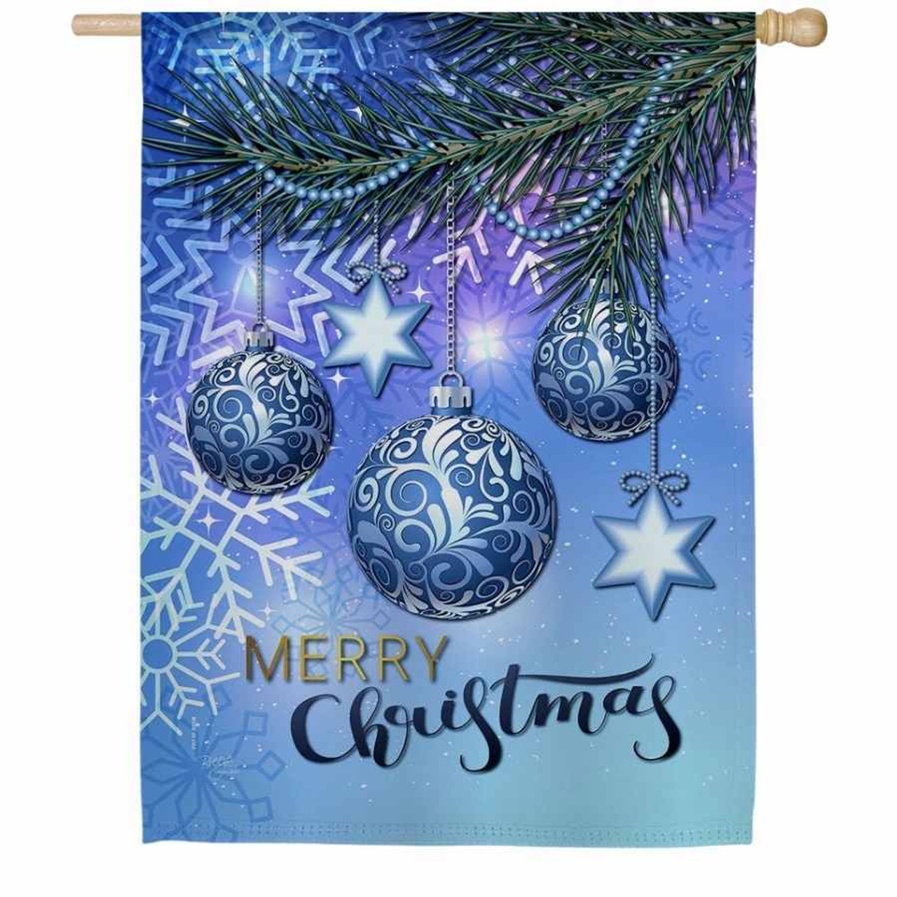 """A house flag that has a blue background with white snowflakes. A pine tree branch comes in from the side and has 3 blue Christmas ornaments hanging from it. """"Merry Christmas"""" is written across the bottom."""