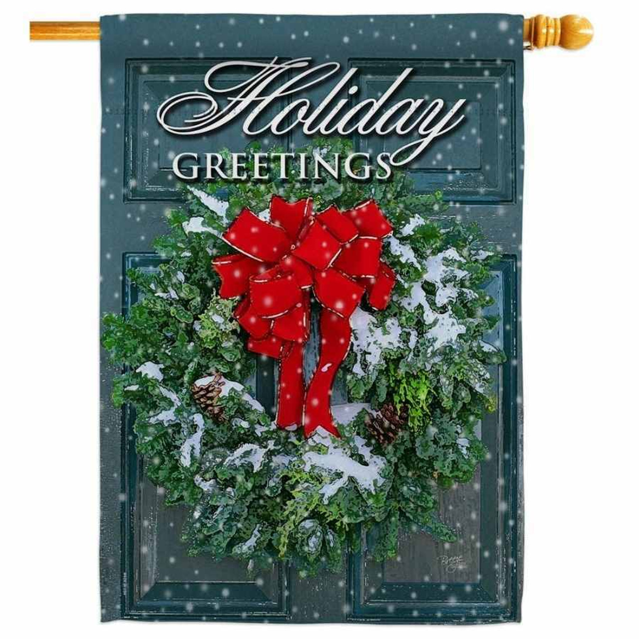 """A house flag with a dark green door that has a wreath with a red bow. The top of the flag says """"Holiday Greetings."""""""