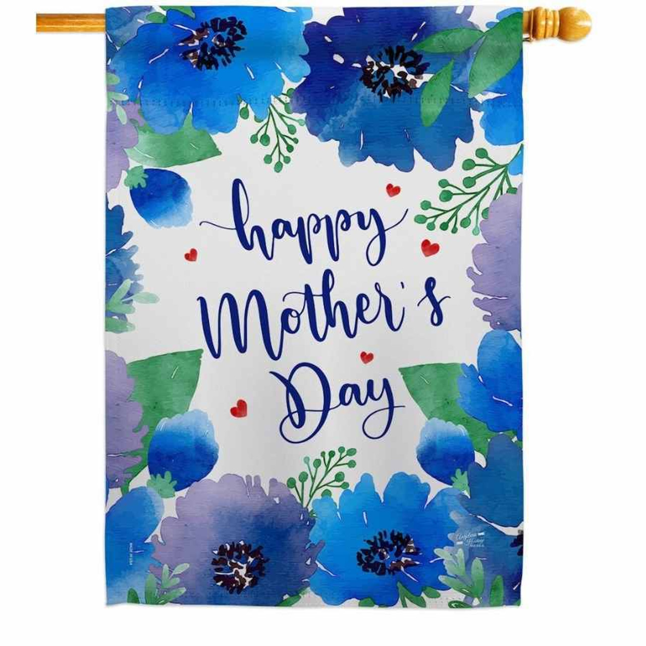 """A house flag that says """"Happy Mother's Day"""" in the middle. Around the border is blue and purple flowers with green leaves."""