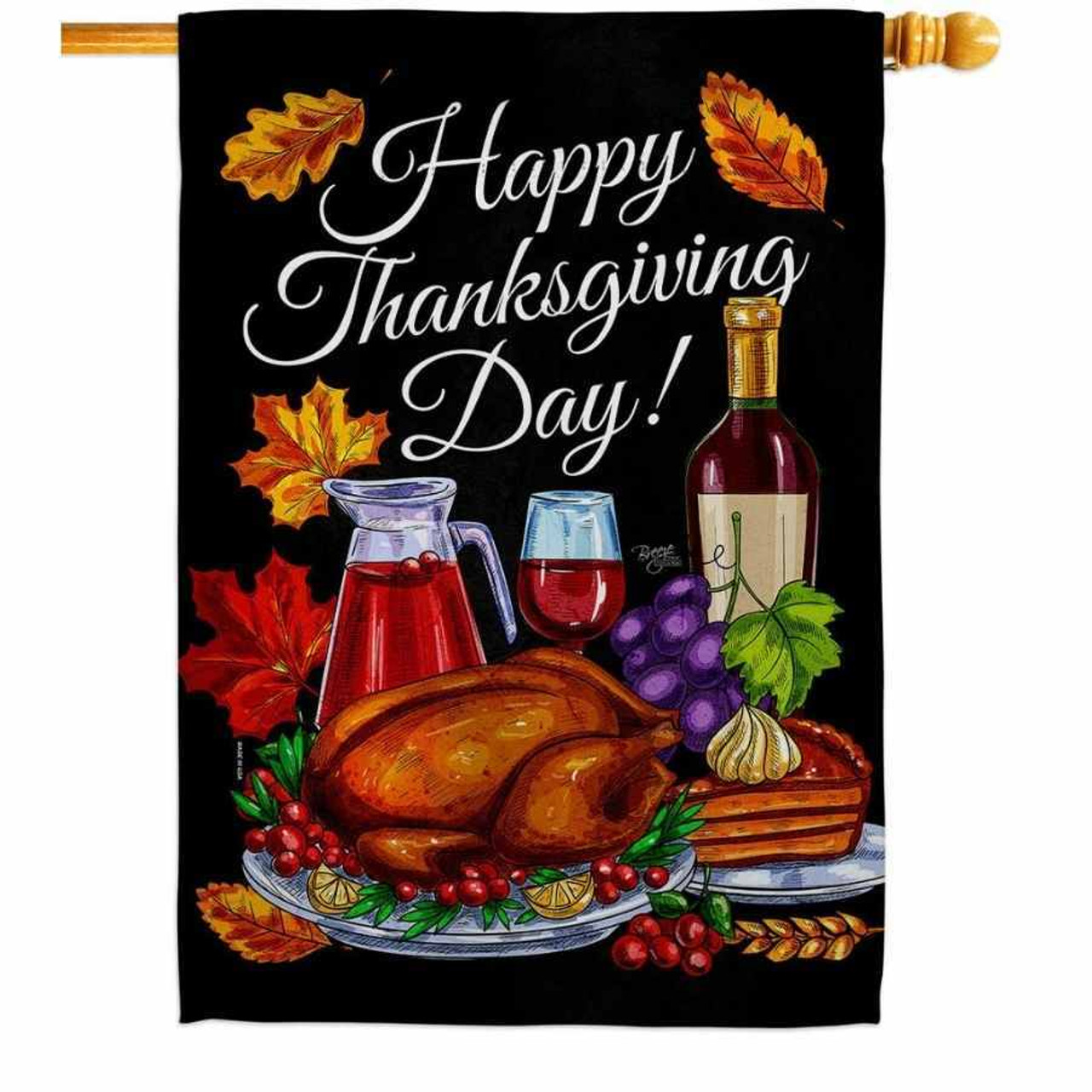"""A black flag that says """"Happy Thanksgiving Day!"""" across the top in white. The bottom portion of the flag has Thanksgiving food. Orange leaves are scattered around the flag."""