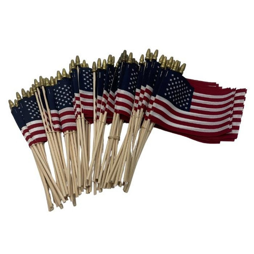 """Over 100  4"""" x 6"""" stick flags made in the USA of cotton material on a light wooden stick and gold topper."""