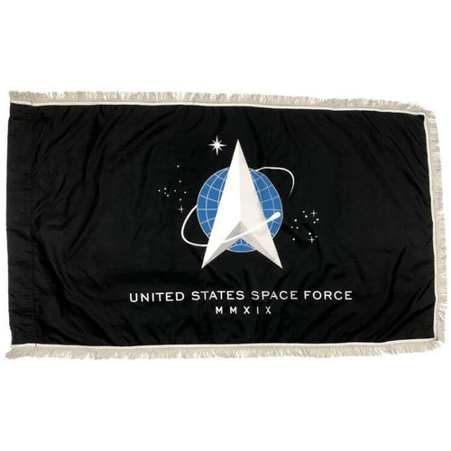 United States Space Force flag for indoor use with silver fringe on three sides and a pole sleeve on the left side.